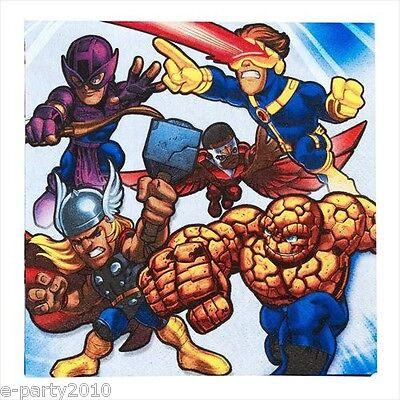 MARVEL SUPER HERO SQUAD LUNCH NAPKINS (16) ~ Birthday Party Supplies Large (Super Hero Squad Party Supplies)