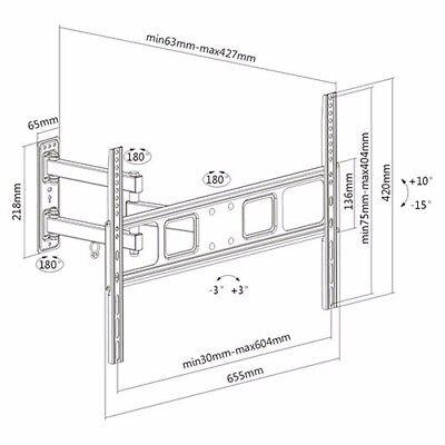 FULL MOTION LCD LED TV WALL MOUNT BRACKET SWIVEL TILT 40 42 46 50 55 60 65 70