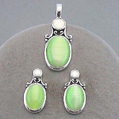 Green Oval Faux Cats Eye Silvertone Retro Fashion Jewelry Pendant Earrings 284-B Cat Eye Oval Earrings