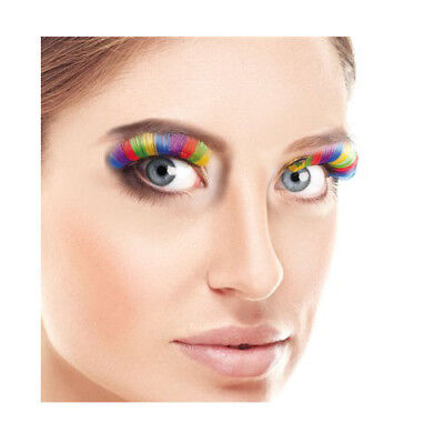 80's Style Bright Neon Rainbow Eyelashes - Neon Make Up & Cosmetics (80s Neon Makeup)