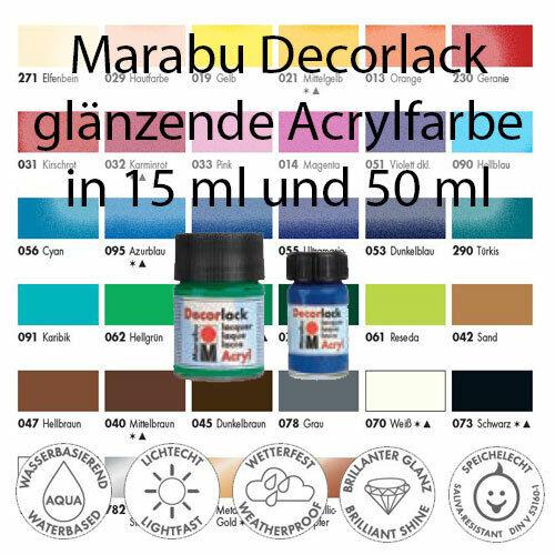 Marabu Decorlack Acrylfarbe 15ml Farbauswahl brillante Farben
