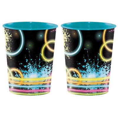 HAPPY BIRTHDAY Glow Party REUSABLE CUPS (2) ~ Supplies Keepsake Plastic Favors