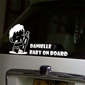 personalized baby on board car window stickers signs decals wall quote