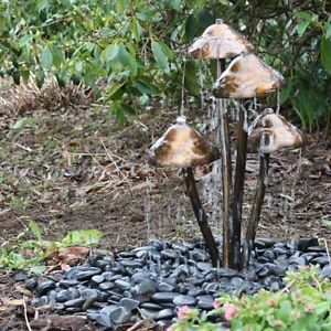 Tidal Mushroom Garden & Patio Water Feature with Warm White LED's