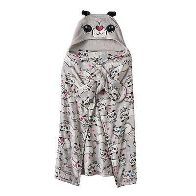 NEW Komar Kids/Baby/Toddler Pug Puppy Dog Gray Fleece Wrap Blanket With Hood