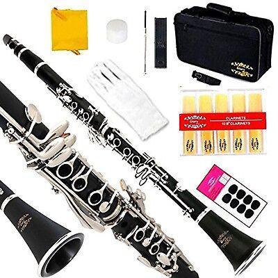 Glory B Flat Clarinet with Second Barrel 11reeds8 Pads Cushionscasecarekit an...