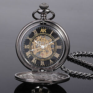 Mens Womens Unisex AK-Homme Mechanical Pocket Watch + Chain + Box New Year Gifts