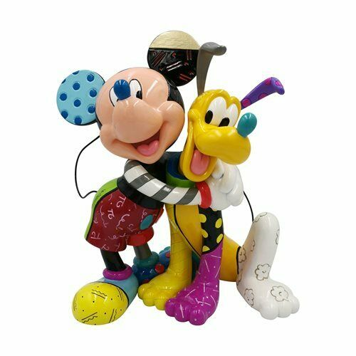 """Enesco Romero Britto Mickey & Pluto 8"""" Figurine NIB 6007094"""