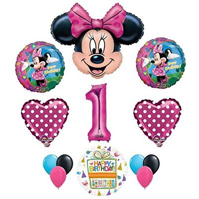 Minnie Mouse 1st Birthday Party Decorations (Minnie Mouse 1st Birthday Party Supplies and Pink Bow 13 pc Balloon)