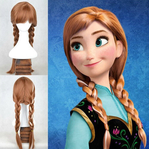Frozen Anna Princess Costume Brown Hair Adult Ponytail Wig For Cosplay Party