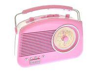 Pink Steepletone Retro Radio