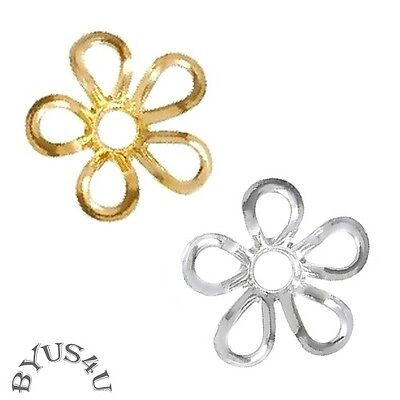 BEAD CAP FINDINGS FLOWER FILIGREE cut-out SCALLOP 9mm GOLD SILVER PLATED 50pc