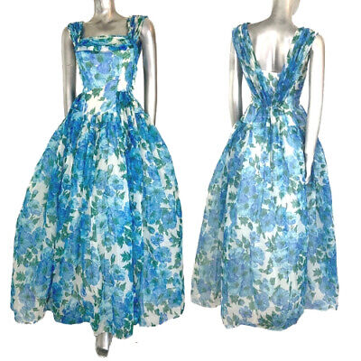 Fairy Tale Chiffon Dress (Vintage Maxi Ballgown Blue & White Floral Prom Fairytale by Herald )