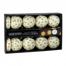 10 Paper Floral Ball Battery Powered String Lights