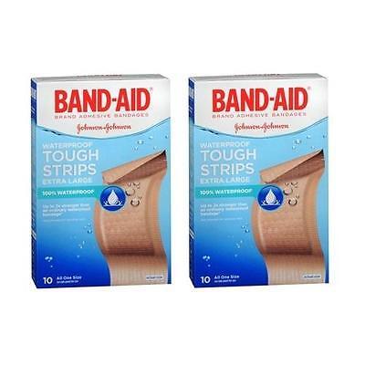 Bandages Extra Large Tough Strips - 2 Pack - BAND-AID Tough-Strips Adhesive Bandages Extra Large 10 Each