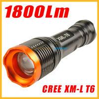 Bright 1800Lm CREE XM-L T6 LED Zoomable Flashlight Light 18650 T