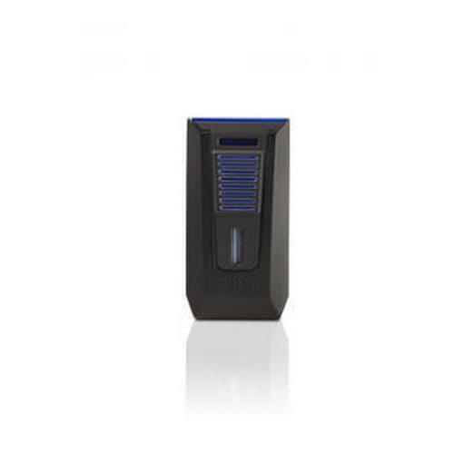 Colibri Slide Double Jet Flame Lighter w/ Built In Plug Cutter Black Blue