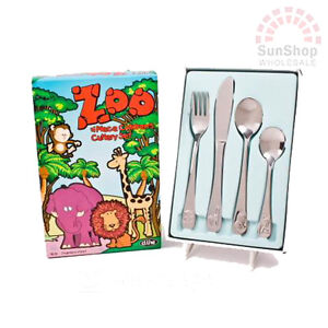 Brand New! D.LINE Zoo 4 Piece Stainless Steel Kids Children's Cutlery Set!