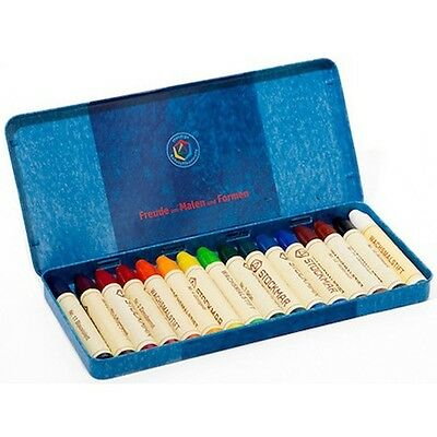 Tin of 16 Stick Stockmar Non-Toxic Beeswax Wax Crayons in Waldorf Colors 628508 - Non Toxic Crayons