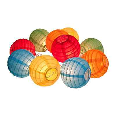 Multi-Colored Mini Paper Lantern String Lights Set of 10 Japanese Chinese NEW