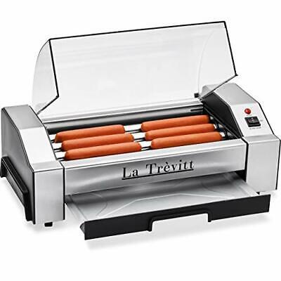La Trevitt Hot Dog Roller- Sausage Grill Cooker Machine- 6 Hot Dog Capacity -...