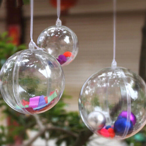 Clear Plastic Fillable Ball Ornaments Hanging Decor, 6-Piece, 12-Piece