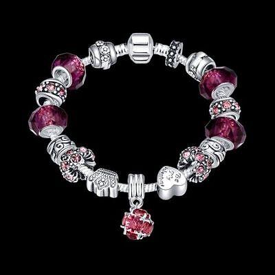(925 Sterling Silver European Murano Glass CZ Crystal Charm Womens Bracelet + Box)