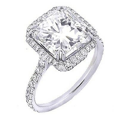 1.60 Ct. U-Setting Radiant Cut 14K WG Halo Diamond Engagement Ring D,VS2 GIA