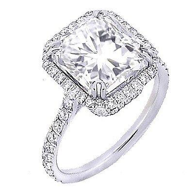 1.60 Ct. U-Setting Radiant Cut 14K WG Halo Diamond Engagement Ring D,VS2 GIA