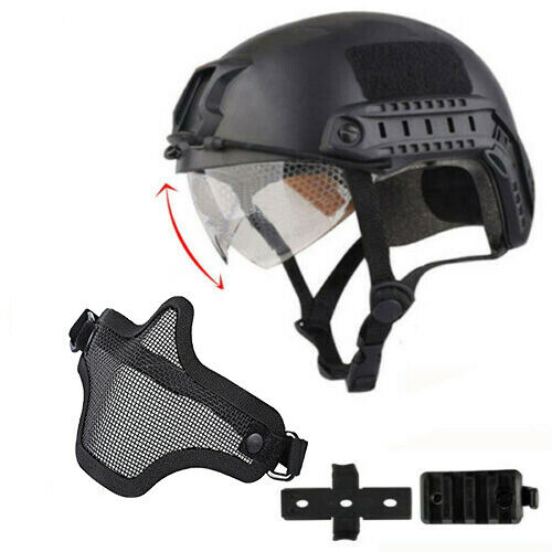 Military Tactical Airsoft Paintball SWAT Protective FAST Helmet w/ Goggle mask