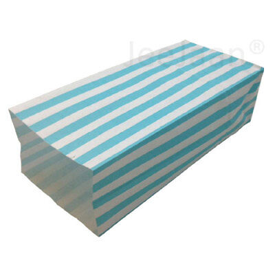 (PICK AND MIX BAGS) 1000 Blue Candy Stripe Gift Wedding Paper Party 10cm x 25cm