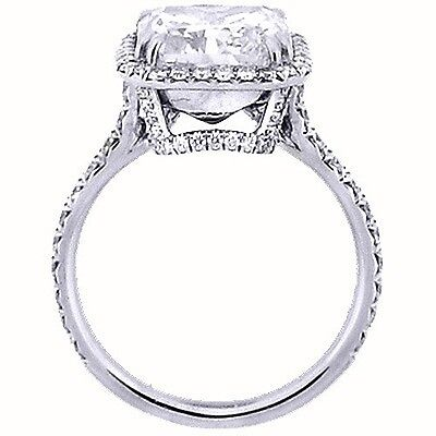 1.60 Ct. U-Setting Radiant Cut 14K WG Halo Diamond Engagement Ring D,VS2 GIA 1