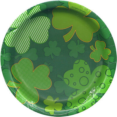 ST PATRICK'S DAY Clover SMALL PAPER PLATES (8) ~ Birthday Party Supplies Dessert