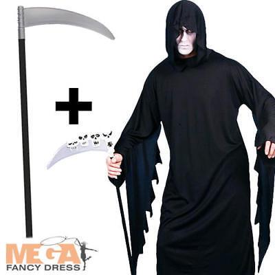 Screamer + Scythe Mens Halloween Fancy Dress Grim Reaper Horror Adult - Screamers Kostüm