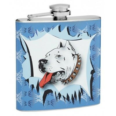 (6 oz Hip Flask with Pit Bull Design)