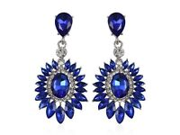 Simulated Blue Sapphire and White Austrian Crystal Earrings in Silver Plate