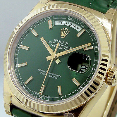 ROLEX 118138 DAY-DATE YELLOW GOLD 36 mm OYSTER 18K YELLOW GOLD GREEN DIAL 118138