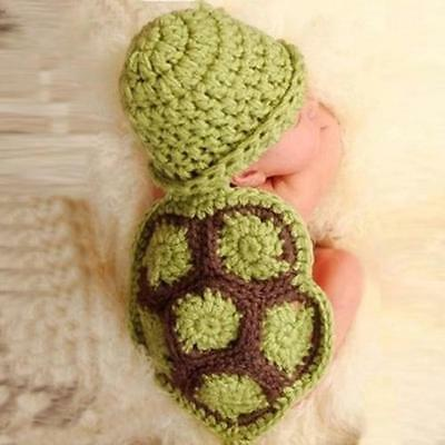 Baby Newborn Turtle Knit Crochet Clothes Beanie Hat Outfit Photo Props Excellent ()