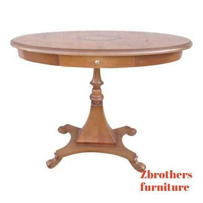 Mahogany Center Table - ANTIQUE REPRODUCTION SHELL INLAID BURL MAHOGANY PEDESTAL LAMP END CENTER TABLE