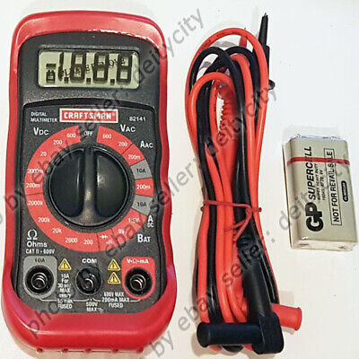 Craftsman 8 Function Digital Multimeter Ac Dc Volt Ohms Tester Lcd Battery