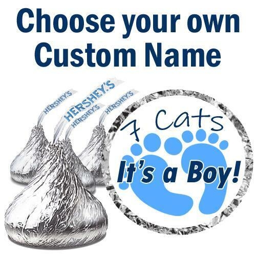108 CUSTOM NAME Its a Boy Baby Shower Decorations Fits Hershey Kiss Stickers