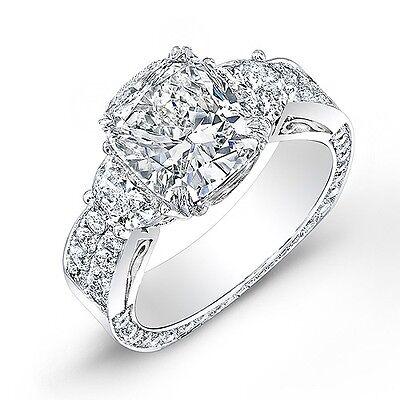 3.62 Ct. Cushion Cut, Half Moon & Round Diamond Engagement Ring 18K H,VVS2 GIA