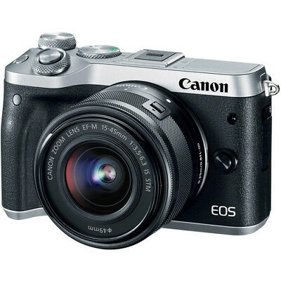 Canon EOS M6 Mirrorless Digital Camera - Silver with 15-45mm Lens
