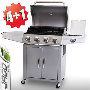 BBQ Gas Grill Barbecue Stainless Steel Portable 4 Burner +1 Side Silver Warm Rk