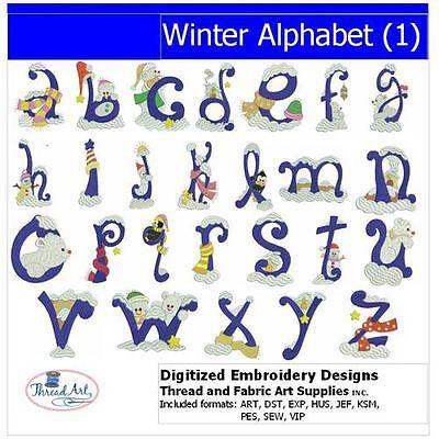 Embroidery Design Set - Winter Alphabet(1) - 26 Designs - 9 Formats - USB Stick ()