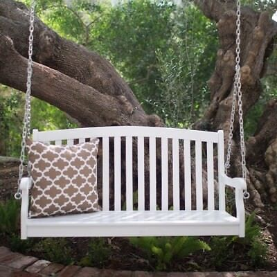 - Comfortable Porch Swing Relaxation Wooden Patio Outdoor Hanging Seat Curved Back