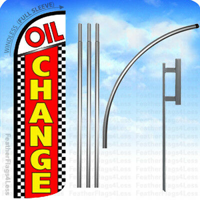 Oil Change - Windless Swooper Flag Kit 15 Feather Banner Sign - Chrq