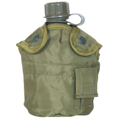 NEW Tactical Military 1qt Canteen COVER with Alice Clips and Side Pouch OD GREEN