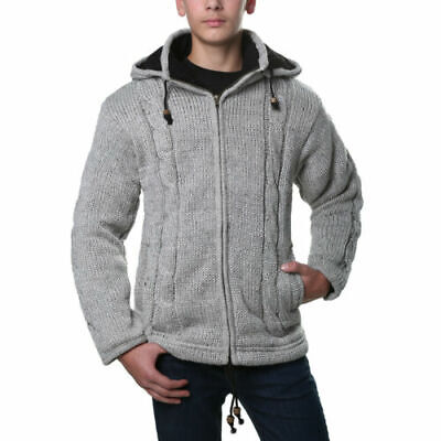 Classic Men's Knit Jacket with Fleece Lining and Detachable Hood