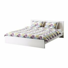 White Ikea Malm double bed frame + matress